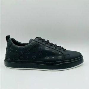 MCM Men's Black Leather Monogram Logo Sneakers